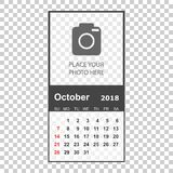 October 2018 calendar. Calendar planner design template with pla. Ce for photo. Week starts on sunday. Business vector illustration Royalty Free Stock Images