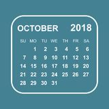 October 2018 calendar. Calendar planner design template. Week st. Arts on Sunday. Business vector illustration Royalty Free Stock Photo