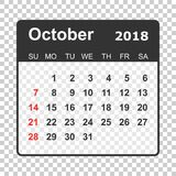 October 2018 calendar. Calendar planner design template. Week st. Arts on Sunday. Business vector illustration Stock Photos