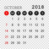 October 2018 calendar. Calendar planner design template. Week st. Arts on Sunday. Business vector illustration Stock Photo