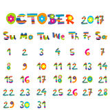 October 2017 calendar. Cute October 2017 calendar for kids Stock Images