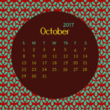 2017 October calendar design with geometric background | colorful modern business Stock Images