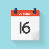 October 17 Calendar Flat Daily Icon. Vector Illustration Emblem. Element of Design for Decoration Office Documents and Applications. Logo of Day, Date, Time Royalty Free Stock Photo