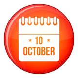 10 october calendar icon, flat style Royalty Free Stock Photography