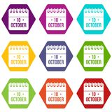 10 october calendar icon set color hexahedron. 10 october calendar icon set many color hexahedron isolated on white vector illustration Stock Photo