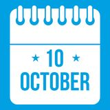 10 october calendar icon white. Isolated on blue background vector illustration Stock Images