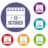 10 october calendar icons set. In flat circle reb, blue and green color for web Stock Images