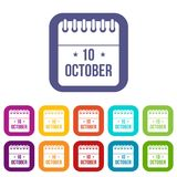 10 october calendar icons set. Vector illustration in flat style in colors red, blue, green, and other royalty free illustration