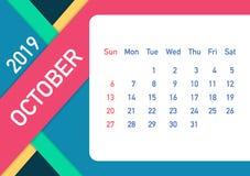 October 2019 Calendar Leaf. Calendar 2019 in flat style. A5 size. Vector illustration. October 2019 Calendar Leaf. Calendar 2019 in flat style. A5 size. Vector stock illustration