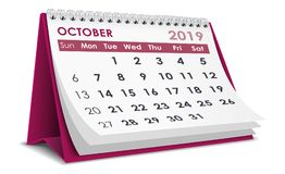 October 2019 calendar Stock Photos