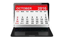 October 2016 calendar over laptop screen. 3d rendering. 2016 year calendar. October calendar over laptop screen on a white background. 3d rendering Stock Photo