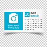 October 2018 calendar. Calendar planner design template with pla. Ce for photo. Week starts on sunday. Business vector illustration Royalty Free Stock Photo