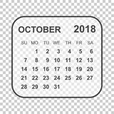 October 2018 calendar. Calendar planner design template. Week st. Arts on Sunday. Business vector illustration Royalty Free Stock Photos