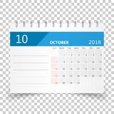 October 2018 calendar. Calendar planner design template. Week st. Arts on Sunday. Business vector illustration Stock Photography