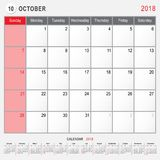 October 2018 Calendar Planner Design. 2018 Calendar Planner Design, October 2018 year vector calendar design Stock Image