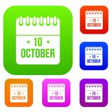 10 october calendar set collection. 10 october calendar set icon in different colors isolated vector illustration. Premium collection Stock Illustration