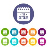 10 october calendar set icons. In different colors isolated on white background Royalty Free Stock Photography