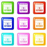 10 october calendar set 9. 10 october calendar icons of 9 color set isolated vector illustration royalty free illustration