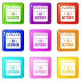 10 october calendar set 9. 10 october calendar icons of 9 color set isolated vector illustration Royalty Free Illustration
