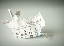 October. Crumpled calendar sheet Royalty Free Stock Photo