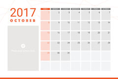 October 2017 calendar. With space for picture Stock Photography