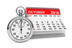 October 2016 calendar with stopwatch. 3d rendering. 2016 year calendar. October calendar with stopwatch on a white background. 3d rendering Royalty Free Stock Images