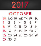 October 2017 calendar vector in a flat style in red tones. Week starts on Sunday Stock Photo