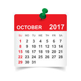 October 2017 calendar. October 2017. Calendar vector illustration Royalty Free Stock Photos