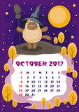 October 2017 calendar. Wall calendar for October, 2017 with an amusing cat. Fun children`s illustration in cartoon style. Colorful background. Vertical Stock Photos