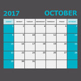 October 2017 calendar week starts on Sunday. Stock vector Royalty Free Stock Photos