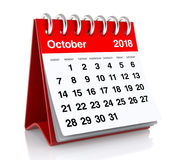 October 2018 Calendar. On White Background. 3D Illustration Royalty Free Stock Image