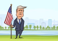OCTOBER, 30, 2017: Caricature character of American President Donald Trump, standing with flag on the background of big stock illustration