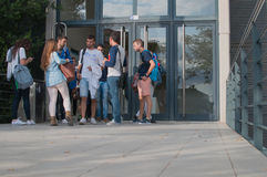 OCTOBER 2015 - CASTELLON, SPAIN - Students coming out of Royalty Free Stock Image