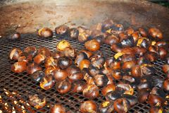 October chestnuts and fire Royalty Free Stock Photography