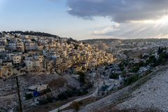 The City of David from the Mount of Olives, Jerusalem, Israel stock images