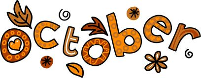 October Clip Art. Whimsical cartoon text doodle for the month of October
