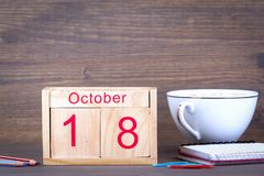 October 18. close-up wooden calendar. Time planning and business background Stock Images