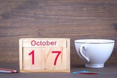 October 17. close-up wooden calendar. Time planning and business background Stock Image