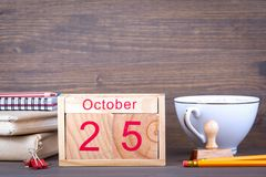 October 25. close-up wooden calendar. Time planning and business background Stock Images