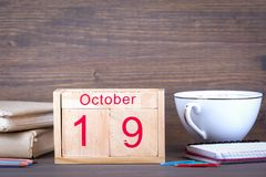 October 19. close-up wooden calendar. Time planning and business background Royalty Free Stock Photos