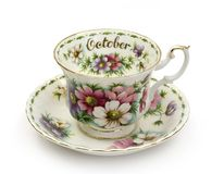 October Cup and Saucer. Cup and Saucer - Month of October stock photography