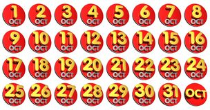October 3D.with Clipping Path. royalty free stock photos