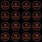 October date, date collection of October in orange color. Black button with orange neon light and october date. Part 1 Stock Images