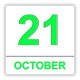 October 21. Day on the calendar. 3D illustration Stock Photos