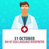31 October. Day of Sign Language interpreter. Medical holiday. Vector medicine illustration. 31 October. Day of Sign Language interpreter. Medical holiday Royalty Free Stock Images