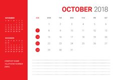 October 2018 desk calendar vector illustration. Simple and clean design Royalty Free Stock Image