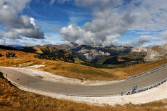 18 october 2016, Dolomites of South Tyrol, Sign at the entrance to Val Gardena Stock Images