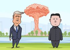 OCTOBER, 30, 2017: Donald Trump and Kim Jong-un in front of nuclear explosion on the city background. US President Trump stock illustration
