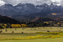 OCTOBER 1, 2016 - Double RL Ranch near Ridgway, Colorado USA with the Sneffels Range in the San Juan Mountains Stock Image