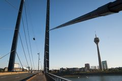 October 21 2018 - Dusseldorf, Germany: views of the Tower on bridge in center of the city. Shot well to describe city royalty free stock image